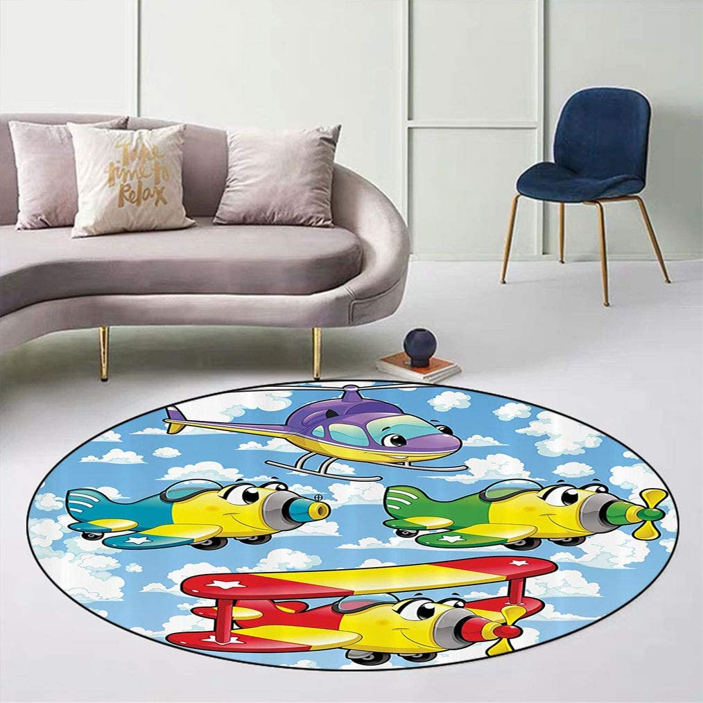 Cartoon Decor Round Sofa Rugs 年中無休 Helicopte 売り込み Airplanes and Kids Cute