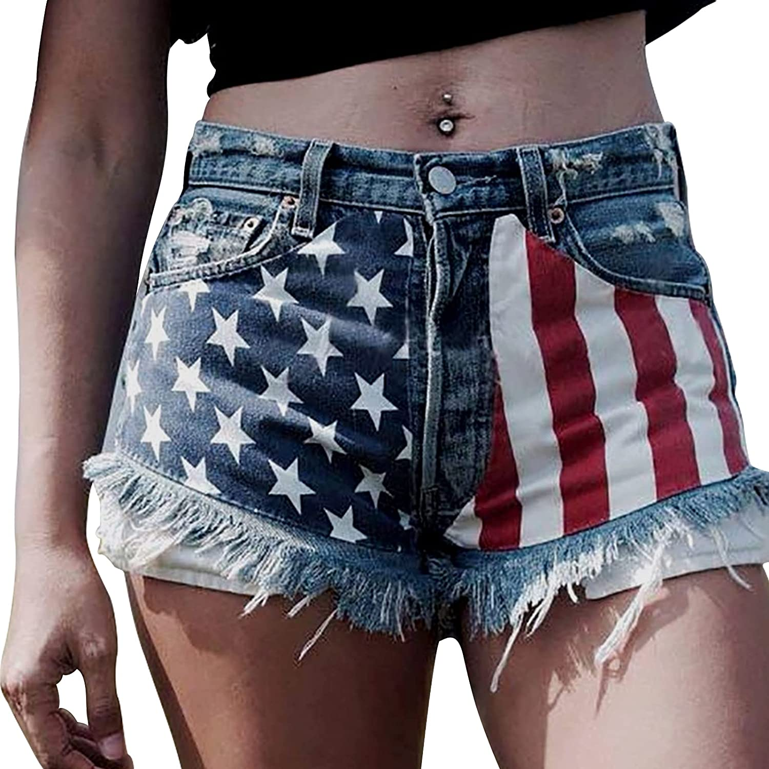 Women's Casual Jean Shorts High Waisted Cuffed Rolled Hem Patchwork Ripped Denim Shorts Mini Hot Pants with Pockets