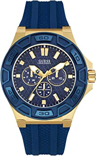 Comfortable Iconic Gold-Tone Blue Stain Resistant Silicone Watch with Day, Date + 24 Hour Military/Int'l Time. Color: Blue (Model U0674G2)