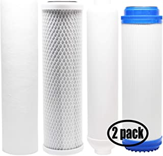 2-Pack Replacement Filter Kit Compatible with Vertex PT - 4.0-5 RO System - Includes Carbon Block Filter, PP Sediment Filter, GAC Filter & Inline Filter Cartridge - Denali Pure Brand