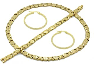 Womens Gold Finish Hugs & Kisses Necklace Bracelet Set With Hoop Earring
