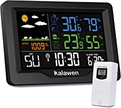 Kalawen Weather Station Wireless Digital Indoor Outdoor Thermometer with Wireless Digital Alarm Clock, Color Large Display Hygrometer Temperature and Humidity Monitor with Calendar,Weather Forecast