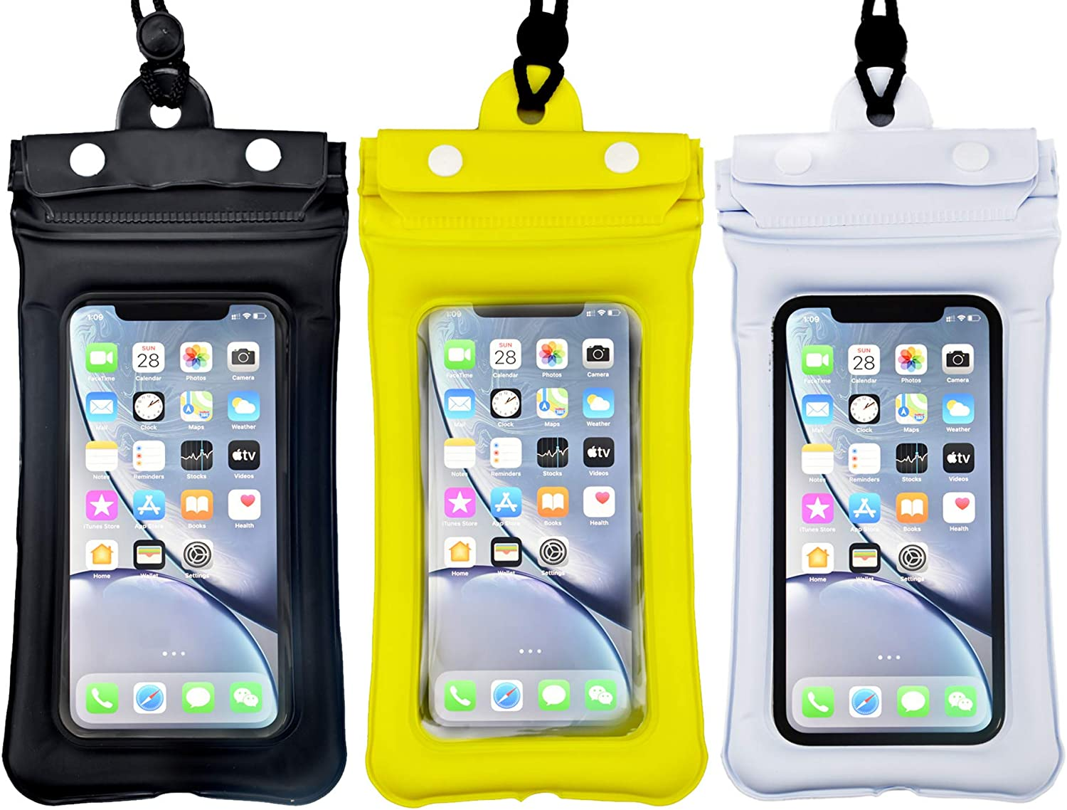 Waterproof Mobile Phone Bag can Float on Water, Three-Layer Waterproof Universal Mobile Phone Drying Bag, with Lanyard, Suitable for 6.5-inch Smartphones, 3 Pieces (Black, Yellow, White)