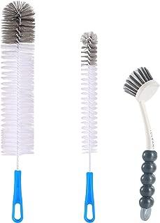 Zannaki 3Pcs Food Grade Multipurpose Cleaning Brush Set,Lab Cleaning Brushes,Includes Comfortable Grips Dish Brush with Scraper Tip|Bottle Brush|Kitchen Sink Brush, Stiff Nylon Bristles Kit
