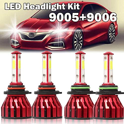 9005 9006 Combo LED Headlight Kit for Honda Accord(1995 to 2007) 4 Sided High Low Beam 360 Degree Lighting Bulbs 240W Plug and Play 6000K White