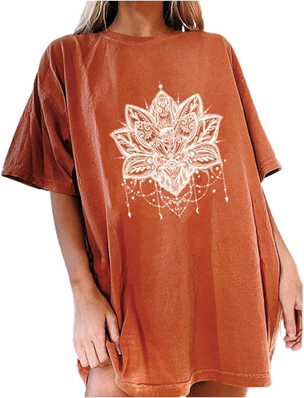 GOODTRADE8 Women Sunflower Printing Crew Neck Loose Short Sleeve T-Shirt Top Blouse Pullover Summer Tops Tee Shirts Blouse