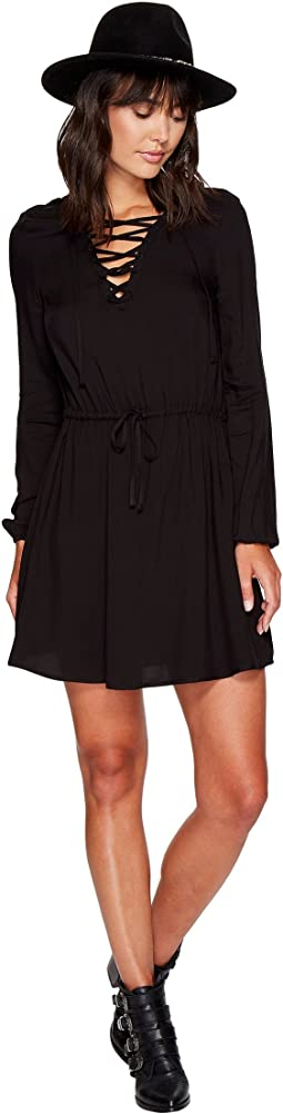 Char Rayon Twill Lace-Up Dress