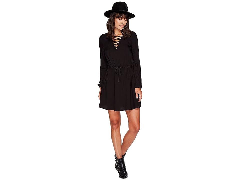 Jack by BB Dakota Char Rayon Twill Lace-Up Dress (Black) Women