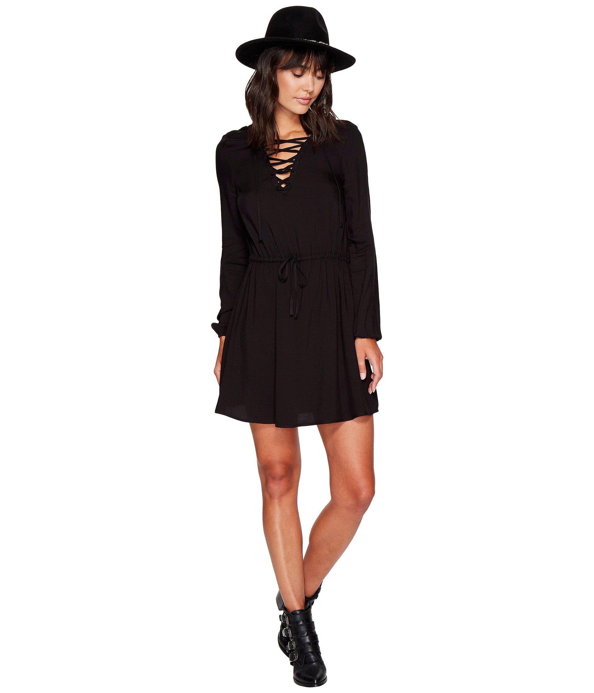 Char Rayon Twill Lace-Up Dress, Black