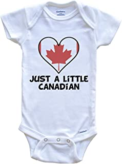 Just A Little Canadian Onesie - Funny Canada Flag Baby Bodysuit