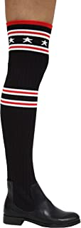 Metis-1 Stars and Stripes Ribbed Knit Over-The-Knee Fitted Boots