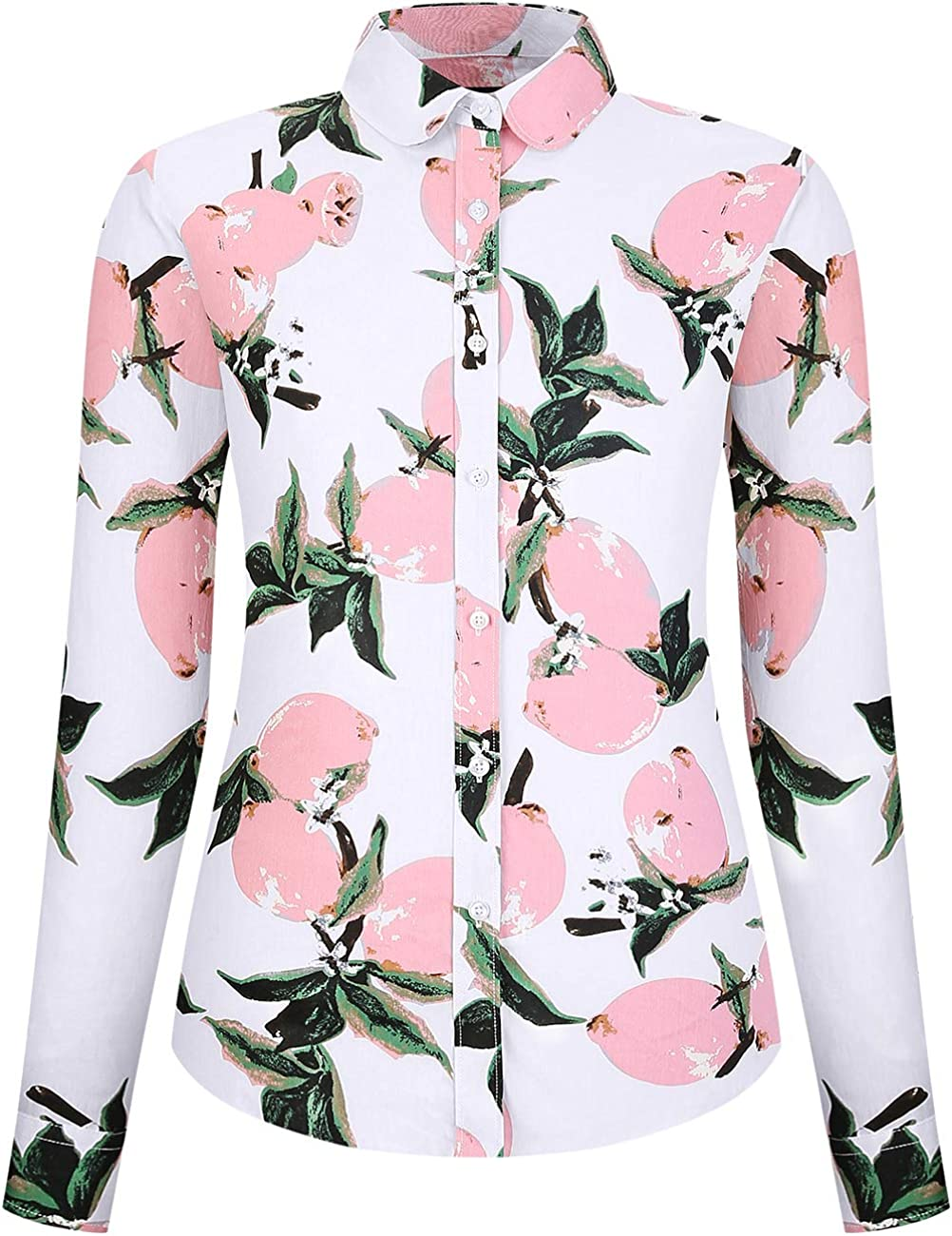 DOKKIA Women's Tops Casual Blouses Long Sleeve Work Button Up Dress Aloha Hawaiian Shirt