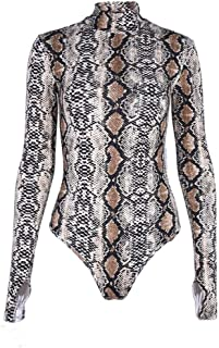 Women's Pullover Snakeskin Tops Bodysuit Pullover Long Sleeves Shirt