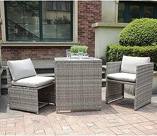 OC Orange-Casual 3 Piece Patio Wicker Outdoor Furniture Set, Rattan Conversation Set, Space Saving, for Garden, Lawn, Balcony