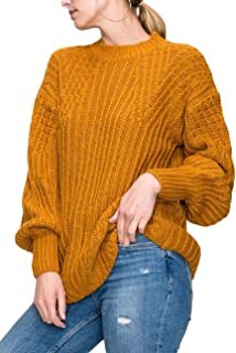 Chunky Cable Knit Crochet Mock Neck Slouchy Pullover Sweater