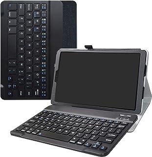 غطاء لوحة المفاتيح Galaxy Tab A 10.1 2019، غطاء جلدي كبير رفيع من البولي يوريثان مع لوحة مفاتيح لاسلكية رومتبل لجهاز Samsu...