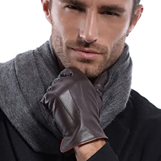 MATSU Men Winter Warm Simple Lambskin Leather Black Gloves M1020