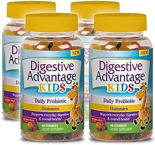 Digestive Advantage Kids Daily Probiotic Gummies Survives Better Than 50 Billion 60 Count (Pack of 4)