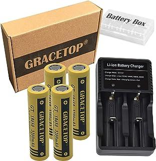 4本 18650 電池 フラットトップ電池 3200mAh 高容量 3.7V フラットヘッド充電池 USB電池充電器 卓上 扇風機 携帯扇風機 交換電池