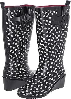 Ladies Polka Dot Wedge Rain Boot