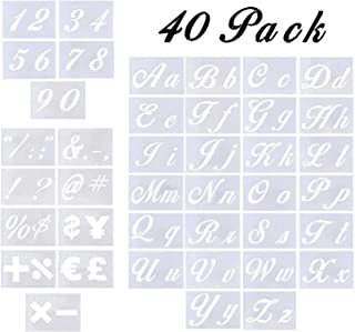 Letter Stencils - 40 Pack Alphabet Letter Templates for Painting on Wood and Wall, Reusable Plastic Art Craft Stencils with Numbers and Signs for Woodworking & Wall Art