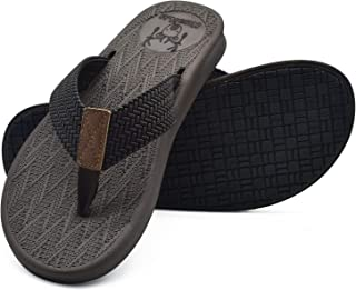 KUAILU Mens Flip Flops Thong Sandals Yoga Foam Slippers Brown Size: 8