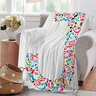 Letter J Bedding Microfiber Blanket J Typography in Artful Design Musical Notes Graphic Style ABC Font Language Theme Super Soft and Comfortable Luxury Bed Blanket W60 x L50 Inch Multicolor