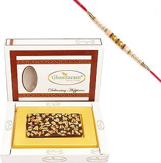 Ghasitaram Gifts Rakhi Gifts for Brothers Rakhi Chocolate Walnut Chocolate Bark Small with Pearl Rakhi