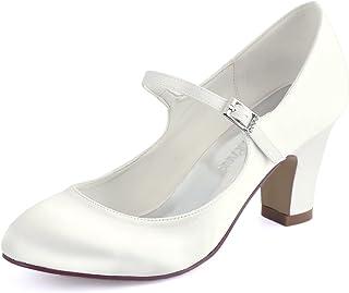 Elegantpark HC1801 Femmes Mary Jane Bout fermé Talon Haut Bloc Escarpins Boucle Satin Chaussures de mariée de Mariage