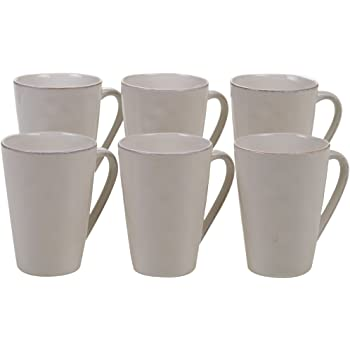 Set of 6 , Certified International Corp 22898SET6 Harmony Light Grey 15 oz Mugs
