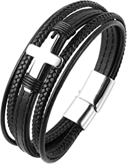 Leather Cross Bracelet Stainless Steel Cowhide Braided Multi-Layer Wrap Mens Bracelet, 8.5 Inches