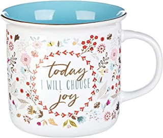 Today I Will Choose Joy Positive Message Encouraging Cute Mug for Women Floral Design Blue/White Ceramic Cup for Coffee/Te...