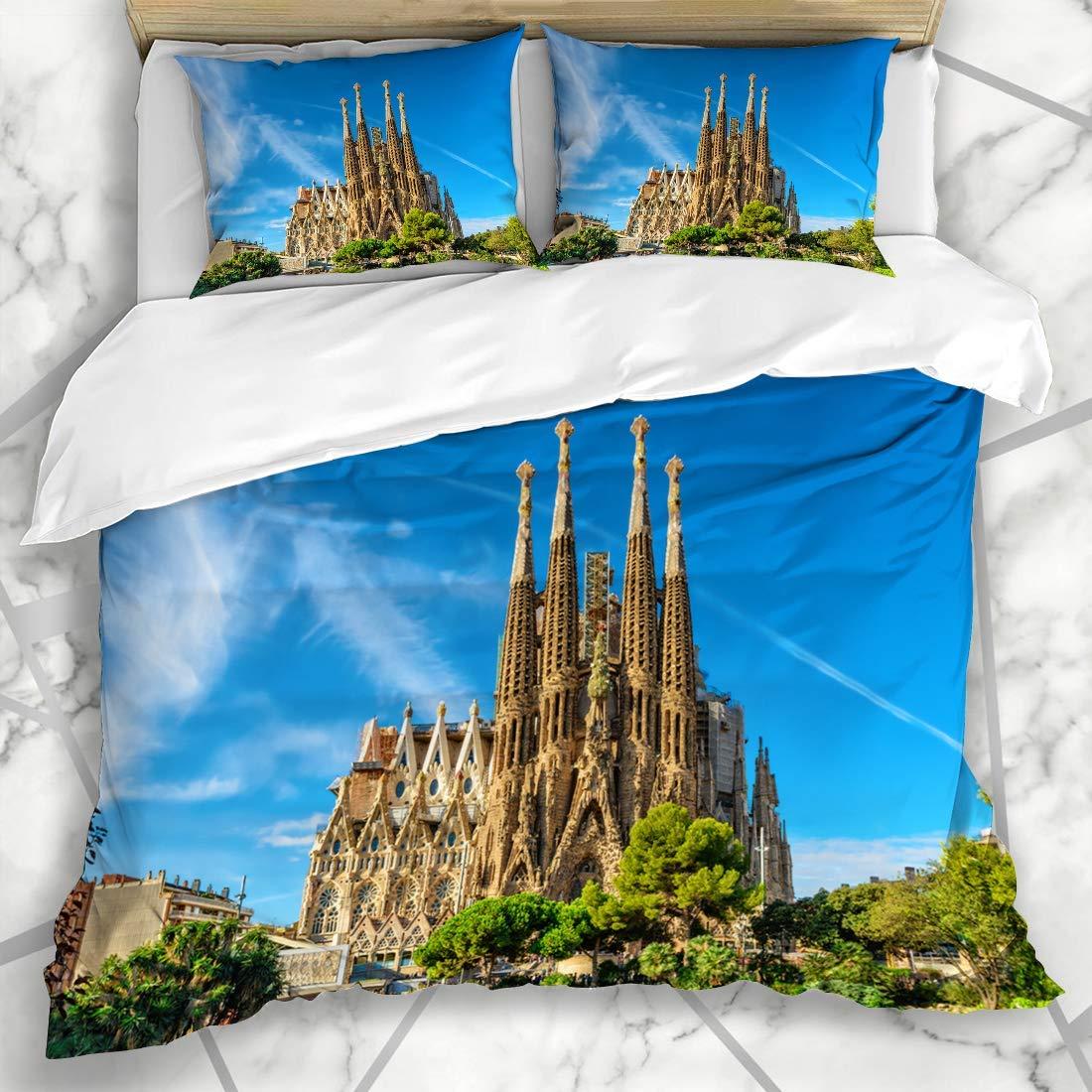 Conjuntos de funda nórdica Ciudad Familia Barcelona España 24 de septiembre Catedral Sagrada Parques exteriores Gaudí España Fachada de Europa Microfibra Ropa de cama con 2 fundas de almohada: Amazon.es: Hogar