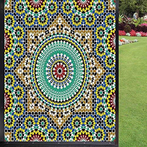 Película de privacidad para ventana marroquí, azulejos de pared de cerámica históricos destinos de viaje para baño, puerta corredera de habitación de niños, multicolor 60 x 90 cm