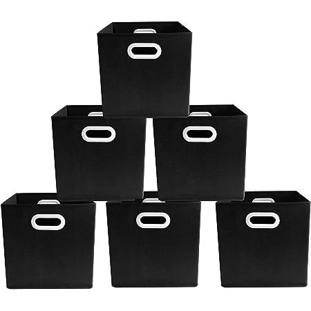 BAAB ORGANIZING Lot de 6 cubes de rangement pliables en tissu non tissé, carton de 2 mm, poignée en plastique (28 x 28 x 28 cm, noir)