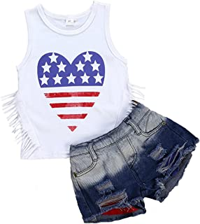 Ripped Short Jean Outfit Kids Girls Denim Clothing Set 2-7T Mrs.BakerHome 2pcs Girls Lace Vest Tops Tanks
