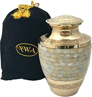 Adult Size Mother of Pearl Cremation Urn for Human Ashes, Funeral Ash Container with Bag