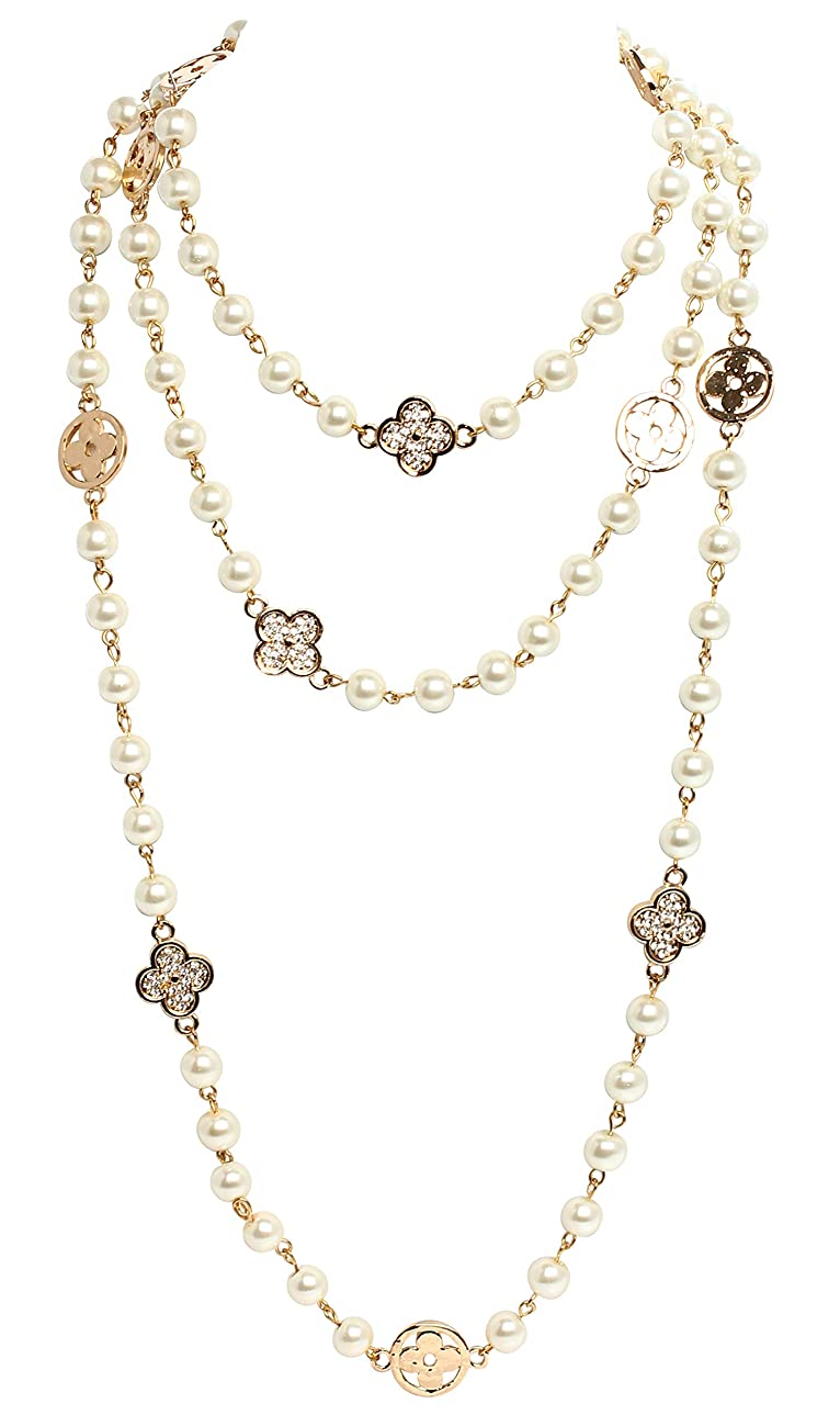 Fashion Jewelry MISASHA Bridal Chic Long Imitation Pearl Clover Strand Necklace