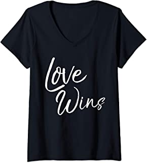Womens Christian Quote Gift for Women Cute Love Wins V-Neck T-Shirt