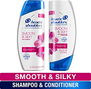 Head and Shoulders Shampoo and Sulfate Free Conditioner Set, Anti Dandruff Treatment and Scalp Care, Smooth & Silky, Twin Pack