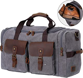 WOWBOX Duffel Bag Weekender Bag for Men and Women Genuine Leather Canvas Travel Overnight Carry on Bag with Shoes Compartment