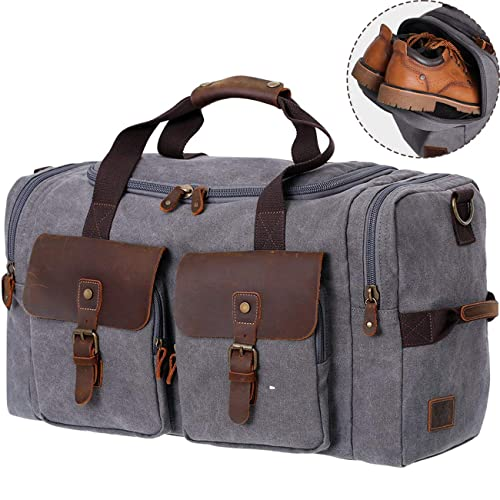 dcb8d9afc8 WOWBOX Duffel Bag Weekender Bag for Men and Women Genuine Leather Canvas  Travel Overnight Carry on