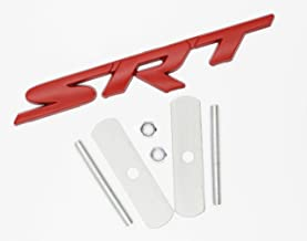 BWONE for Srt Grille Grill emblem 3d metal apply to for Dodge Jeep GrandCherokee Charger (Red)