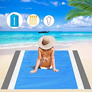 Mumu Sugar Sand Free Beach Blanket, 79''×83'' Extra Large Outdoor Picnic Blanket Waterproof Sand Proof Beach Mat for Travel, Camping, Hiking and Music Festivals (Gray-White-Blue)