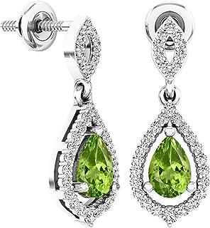 6X4 MM Each Pear Gemstone & Round White Diamond Ladies Dangling Drop Earrings, Sterling Silver