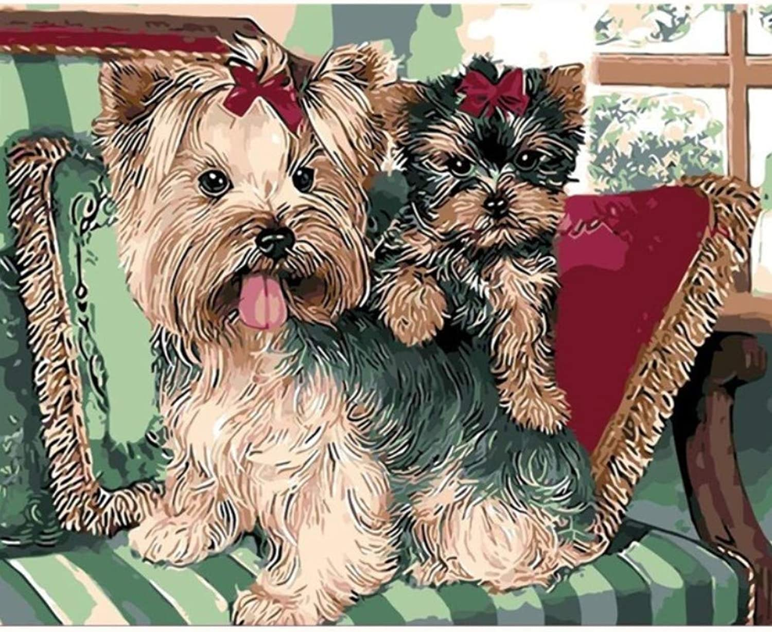 Animal pet Dog and cat Schnauzer Painting Kids Gift Digital Oil Painting Home Decor Wall Art for Living Room Drawing by Numbers 50x60CM