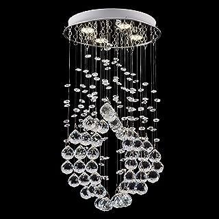 FASHIONOU Chandelier Modern K9 Crystal Raindrop Chandelier Lighting Flush Mount LED Ceiling Light Fixture Pendant Lamp for for Dining Room Bathroom Bedroom Livingroom (Bulb Include)