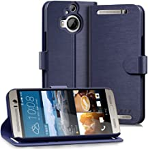 HTC One M9+ Plus Wallet Case - VENA [vSuit] Draw Bench PU Leather Wallet Flip Cover with Stand and Card Slots for HTC One M9+ Plus (Oxford Blue)