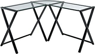 WE Furniture Elite Soreno Glass Corner Computer Desk, Multi