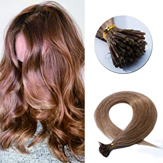 SEGO Pre Bonded Keratin Stick/I Tip Remy Human Hair Extension Cold Fusion Hair Piece for Women Smooth Straight 100 Strands/pack #12 Golden Brown 20 inches 50g